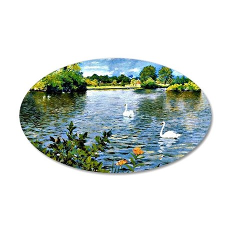 A Long Island Lake, William  35x21 Oval Wall Decal