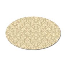 Elegant Cream Damask Pattern 35x21 Oval Wall Decal