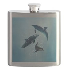 Dolphins in the Sea Flask