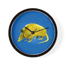 Yellow Armidillo on Blue Wall Clock