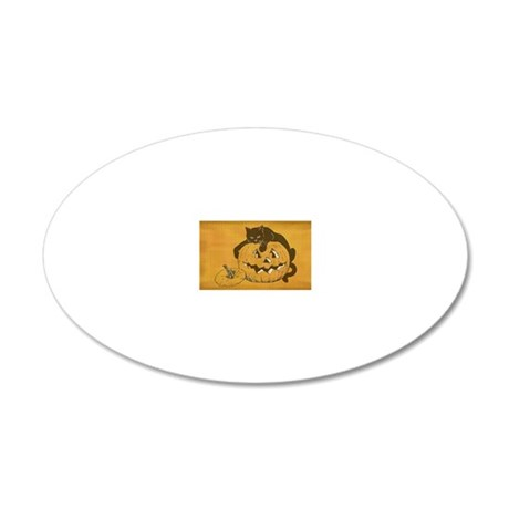 Black Cat and Jack o Lantern 20x12 Oval Wall Decal