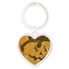 Black Cat and Jack O Lantern Heart Keychain