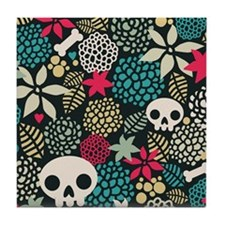 Skulls and Flowers Tile Coaster