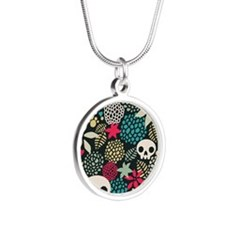 Skulls and Flowers Silver Round Necklace