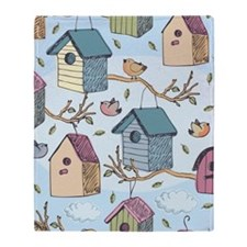 Cute Birdhouses Throw Blanket
