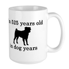 75 birthday dog years pug 2 Mugs