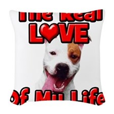RealLoveOfMyLife Pitbull Woven Throw Pillow
