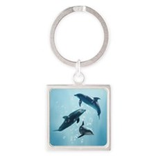 Dolphins in the Sea Square Keychain