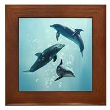 Dolphins in the Sea Framed Tile