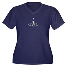 Cute Chakra Women's Plus Size V-Neck Dark T-Shirt