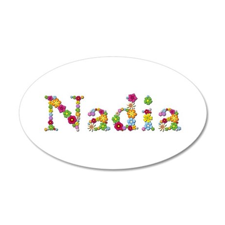 Nadia Bright Flowers 20x12 Oval Wall Decal