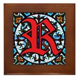 Stained Glass R Framed Tile