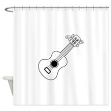 Frettin white uke on black Shower Curtain