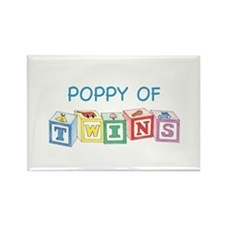 Poppy of Twins Blocks Rectangle Magnet