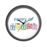Poppy of Twins Blocks Wall Clock
