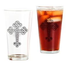 Bling Jewel Cross Drinking Glass