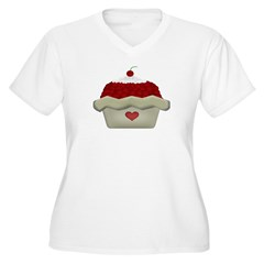 Cherry Delight Women's Plus Size V-Neck T-Shirt