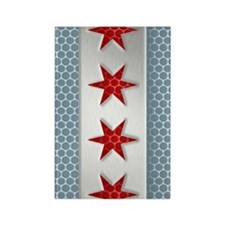 Chicago Flag Brushed Metal Rectangle Magnet