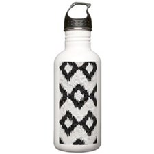 Ikat Black and White P Water Bottle