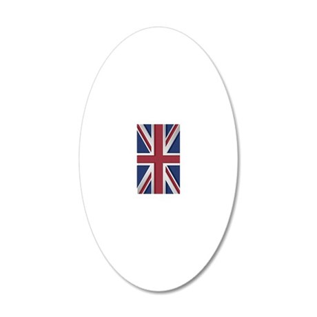 Union Jack Brushed Metal Fla 20x12 Oval Wall Decal