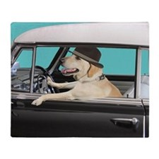 Yellow Labrador Driving Classic Car Throw Blanket