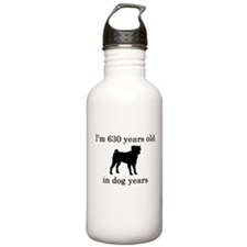 90 birthday dog years pug Water Bottle
