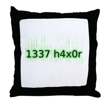1337 h4x0r Throw Pillow