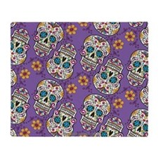 Sugar Skull Halloween Purple Throw Blanket