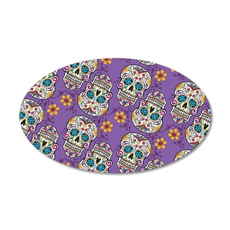 Sugar Skull Halloween Purple 35x21 Oval Wall Decal