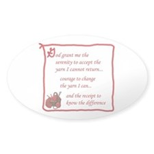 Yarnaholic prayer Oval Decal