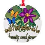 Butterflymotherinlaw.png Round Ornament