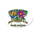 Butterflymotherinlaw.png Oval Car Magnet