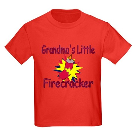 Grandma's Little Firecracker Kids Dark T-Shirt