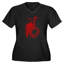 Red Feathered Serpent Women's Plus Size V-Neck Dar