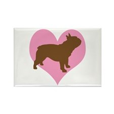 french bulldog & heart Rectangle Magnet (10 pack)