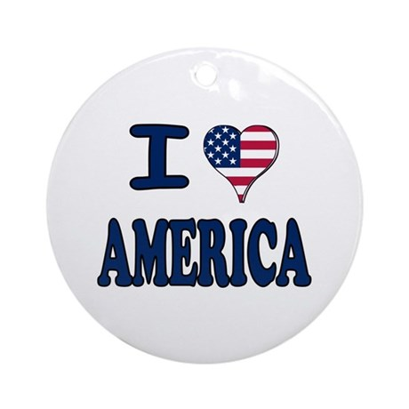 I heart America Ornament (Round)