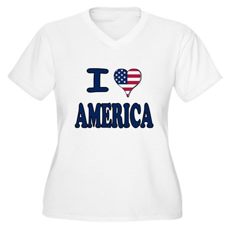 I heart America Women's Plus Size V-Neck T-Shirt