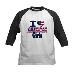 I heart American Girls Kids Baseball Jersey