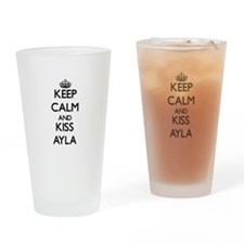 Keep Calm and kiss Ayla Drinking Glass