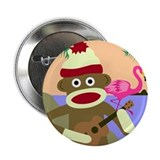 Sock Monkey Ukulele & Flamingo Button