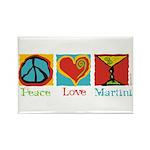 Peace Love Martini Rectangle Magnet