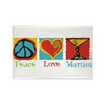 Peace Love Martini Rectangle Magnet (10 pack)