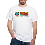 Peace Love Martini White T-Shirt