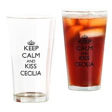 Keep Calm and kiss Cecilia Drinking Glass
