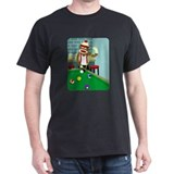 Sock Monkey Pool Billiards Player T-Shirt