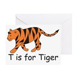 T is for Tiger Greeting Cards (Pk of 10)