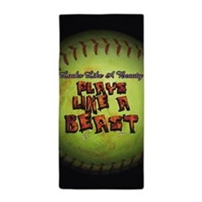 Plays Like A Beast Fastpitch Softball Beach Towel