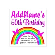 """BLESSED 50TH Square Sticker 3"""" x 3"""""""