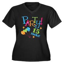 15th Birthday Party Women's Plus Size V-Neck Dark
