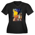 Cafe & Boxer Women's Plus Size V-Neck Dark T-Shirt